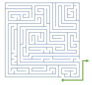 maze with arrow showing path from entrance to the exit that is on the outside of the maze