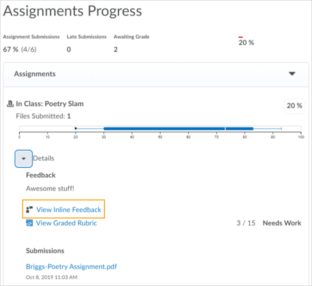 Class Progress view for instructors and learners displaying the View Inline Feedback link