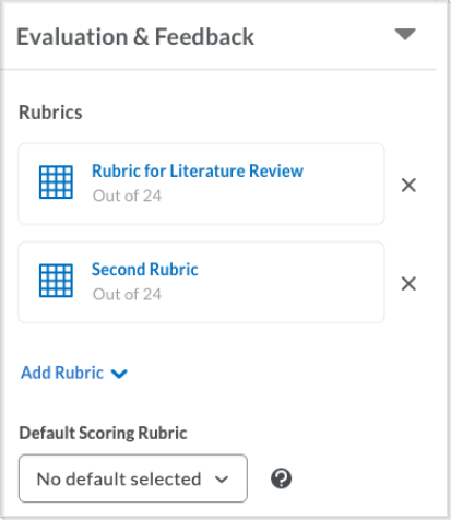 Example of a list of available rubrics and the option to select the rubric to be used by default when scoring