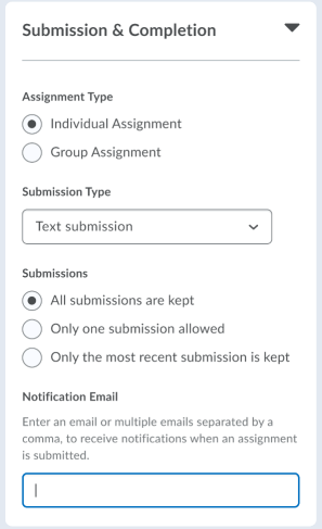 The new assignment creation experience with the Notification Email functionality