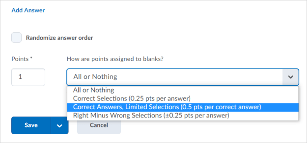 The new Correct Answers, Limited Selections grading type in the new multi-select question experience