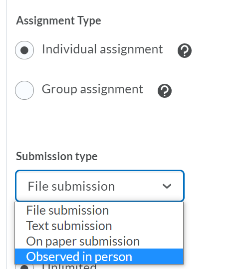assignment submission types