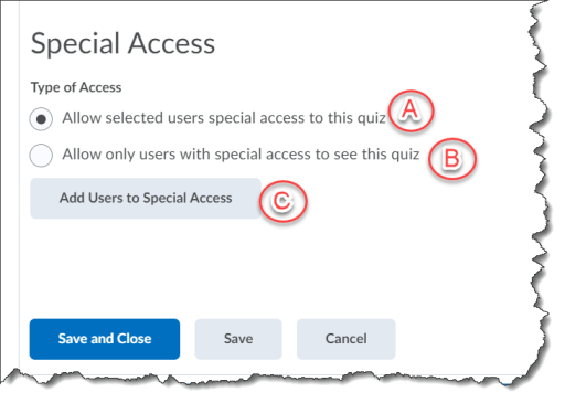 special access options in quizzes