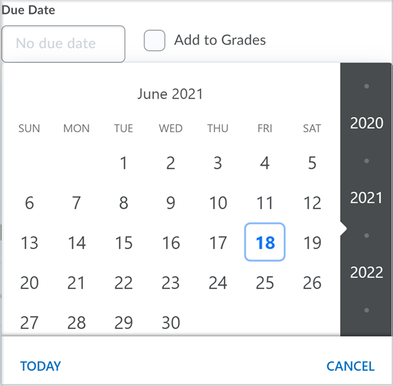 The date picker component in Activity Feed prior to the update