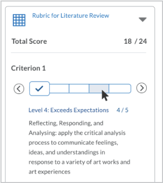 When a non-selected level is in hover state, the name, description, and score appear in the level information area below the slider.