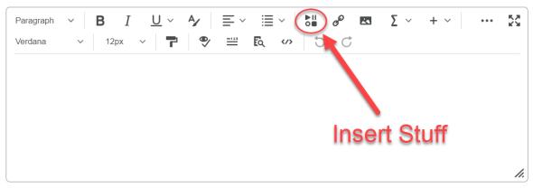 insert stuff icon shown on Brightspace Editor toolbar
