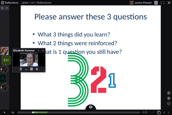 A VoiceThread with a learner's video reflection playing