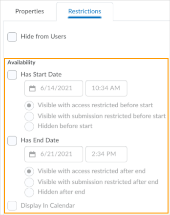 The new consolidated options for visibility and posting restrictions in the Restrictions tab