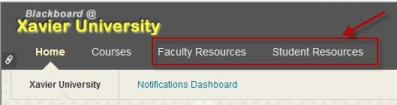 image showing Bb tabs with faculty and student resources highlighted