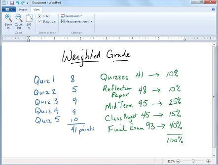 Weighted Grade Calculation Example