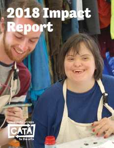Cover image of CATA's 2018 Impact Report, showing CATA artist Sarah Vannah working with Zach Van Wort in the CATAdirect Crafts Cooperative.