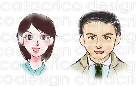 女性顔、男性顔イラスト