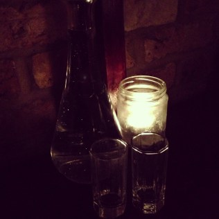 Water on table served in shot glasses!