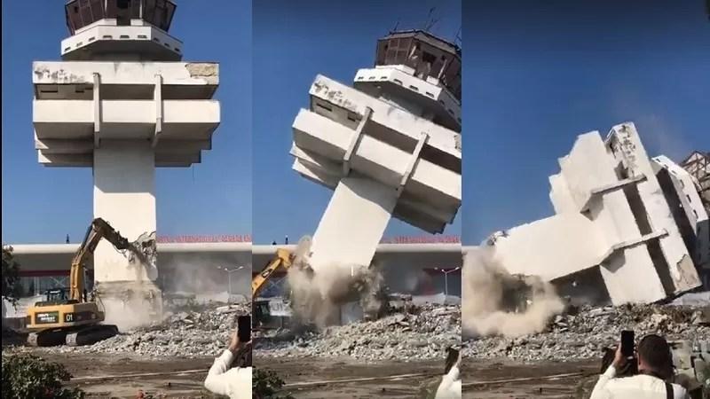 Turnul de control al aeroportului din Bacău fost pus la pământ (video)