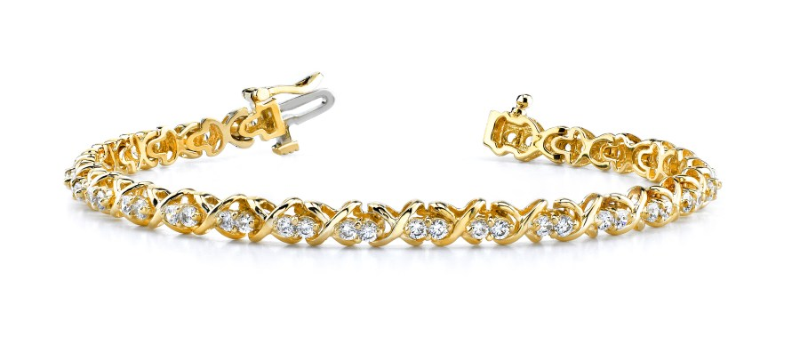 B120 Double Diamond X Link Bracelet