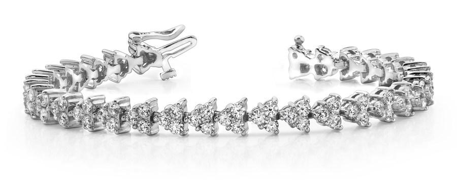 B163 Triangle Three Diamond Cluster Bracelet
