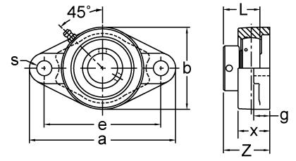 Eccentric Collar Locking Two-Bolt Flange Unit, KHFT200