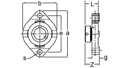 Eccentric Collar Locking Two-Bolt Flange Unit, KHLCTE200