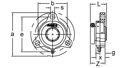 Item # KHTM205-16, Eccentric Collar Locking Three-Bolt