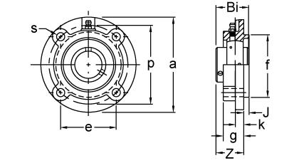 Set Screw Locking Piloted Flange Cartridge Unit, UCFCF200