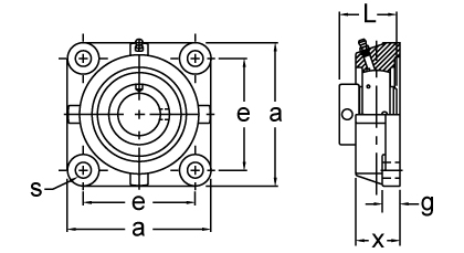 Eccentric Collar Locking Four-Bolt Flange Unit, UGCJO300