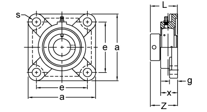 Eccentric Collar Locking Four-Bolt Flange Unit, UGF300