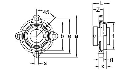 Eccentric Collar Locking Four-Bolt Flange Unit, UGGFDR200