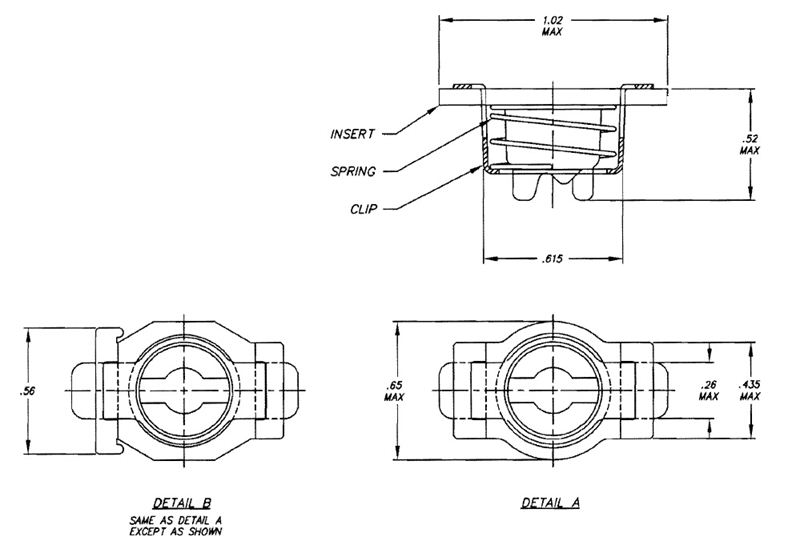 Item # 26R45-1-1-AA, 26R45 Receptacle Assembly Clip In On