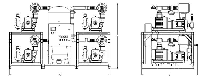 Item # LCPQ1505, Laboratory Dry Claw Quadplex Tank Mounted