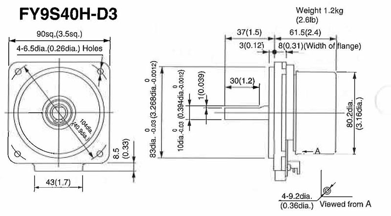 Item # FY9S40H-D3, Model on Motor On Japanese Products Corp.