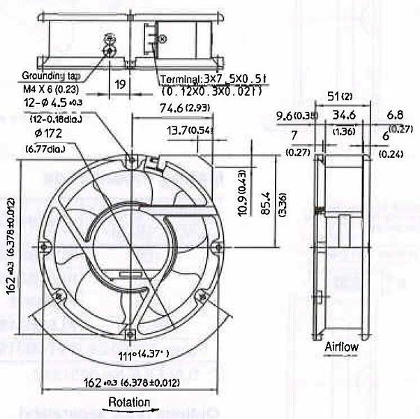 Item # PA55B3, 152 Pascal (Pa) Maximum Static Pressure AC