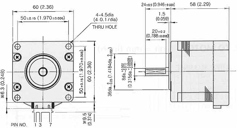 Item # KT60LM06-552, KT Series, 3 phase Hybrid Stepping