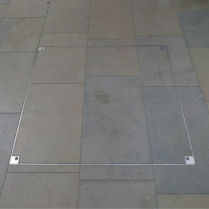 7500 Series  Stainless Steel Single Cover  Floor Access