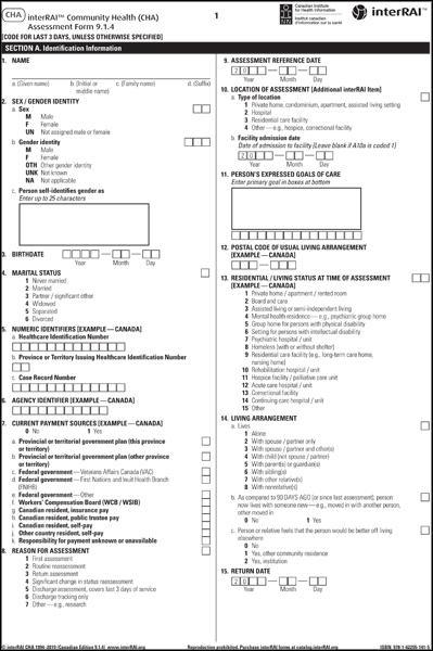 [CHA Canadian] interRAI Community Health (CHA) Assessment