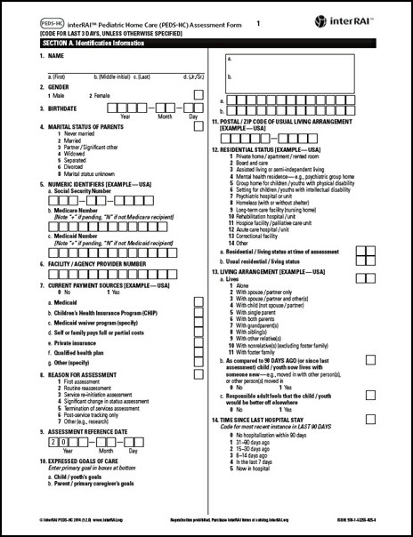 interRAI Pediatric Home Care (PEDS-HC) Assessment Form