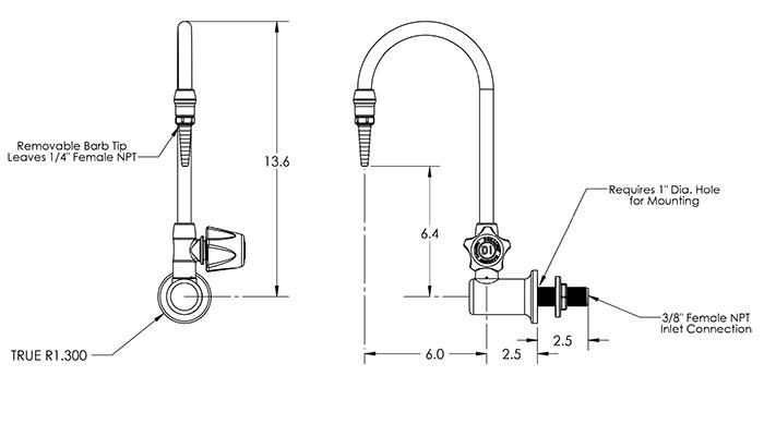 Item # LG-WR-X3, PVDF Laboratory Faucet, Wall Mount