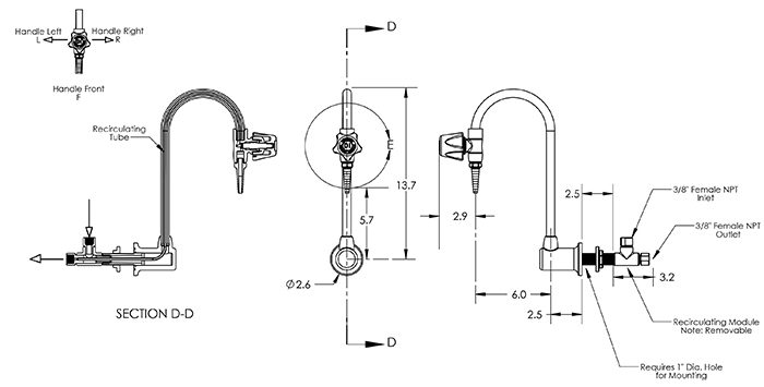 Item # LG-WDR-L2, Recirculating Lab Gooseneck Faucet, Wall