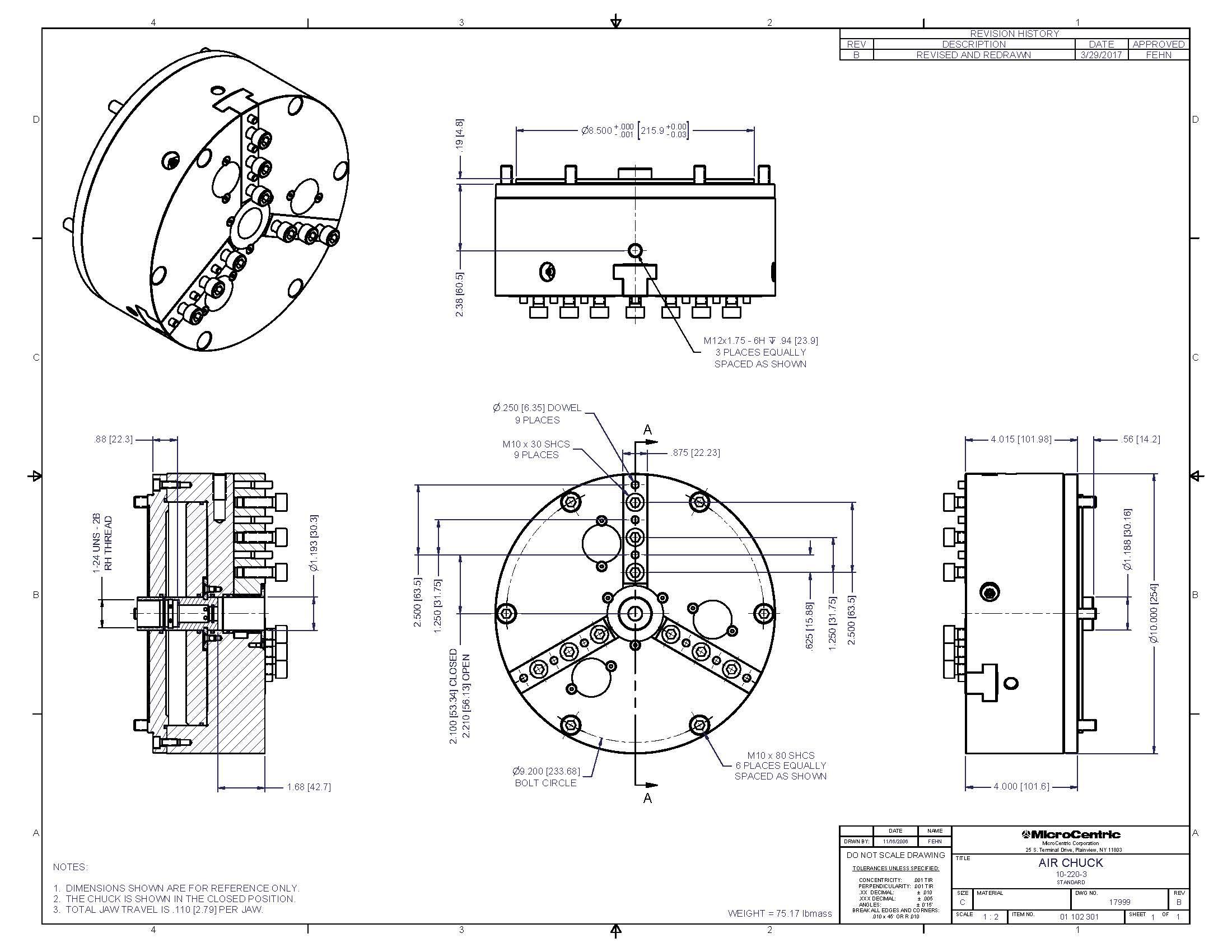 Model 10-220-3, Rotating Air Chucks On MicroCentric Corp.