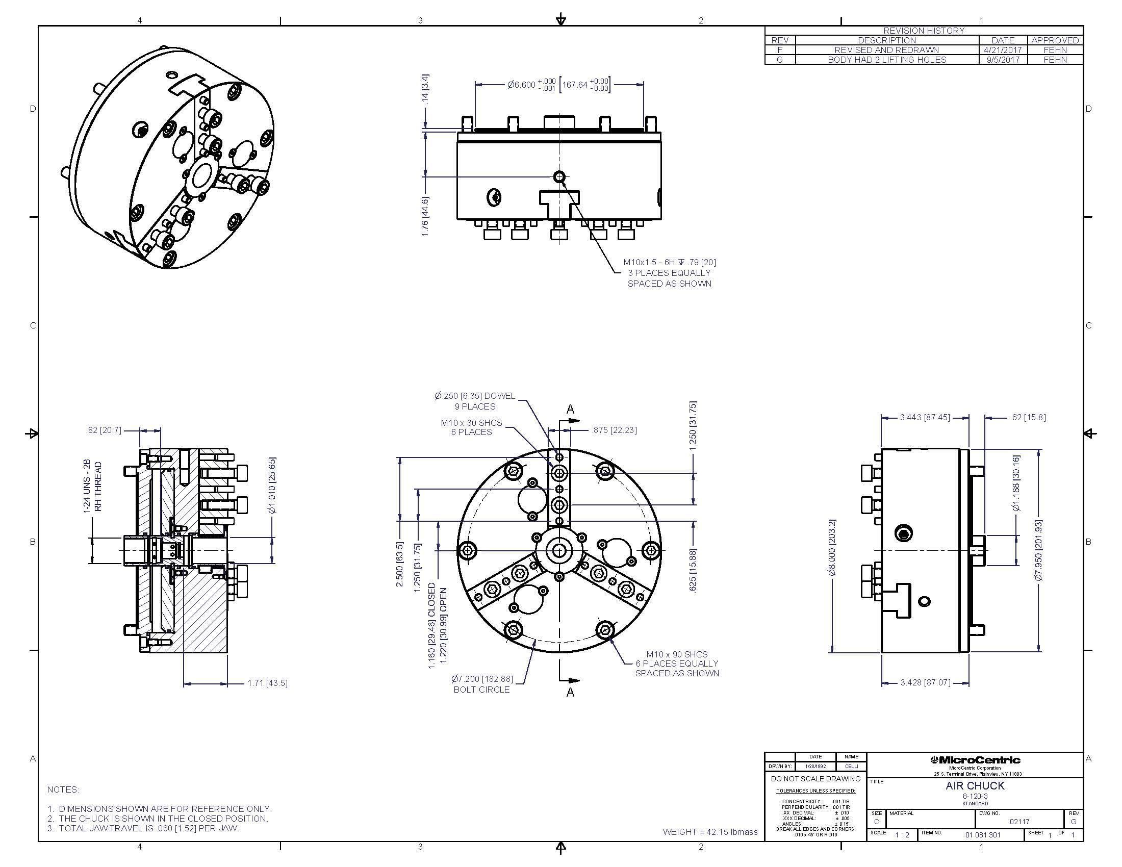 Model 8-120-3, Rotating Air Chucks On MicroCentric Corp.