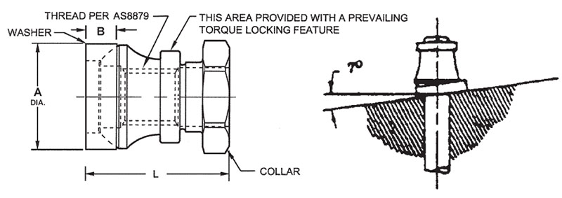 Item # HL75-10A, HL75-10 Hi-Lok 303 Stainless Steel Collar