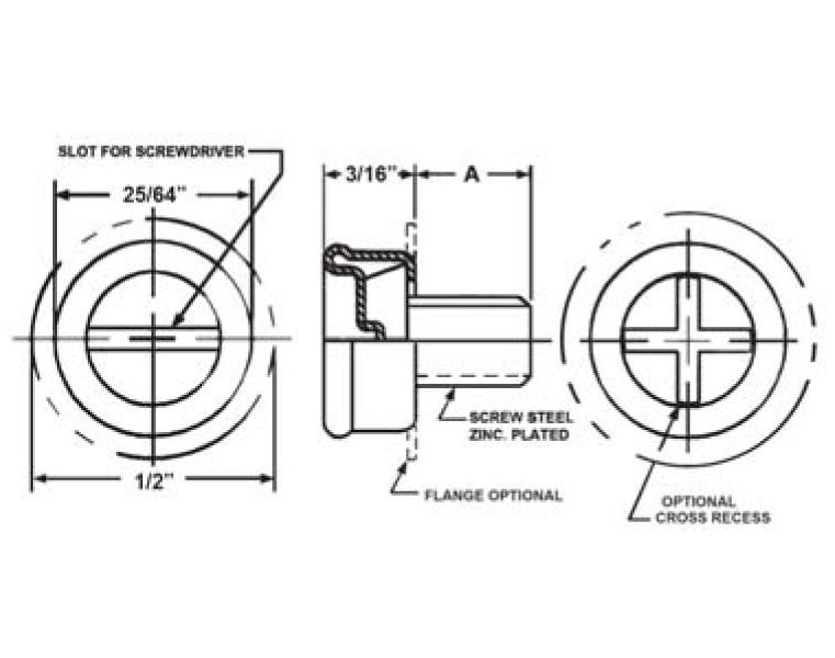 Item # MS27980-12B, Size 1 Machine Screw Base Stud On