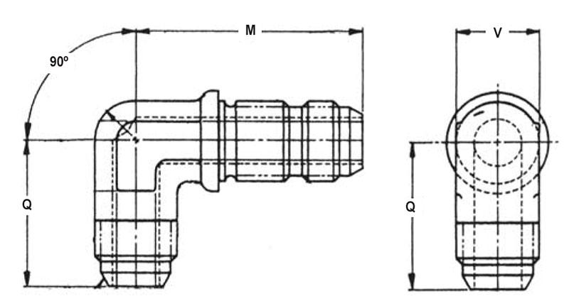 Item # AN833-2J, 1/8 Inch Tube Outer Diameter AN833 90