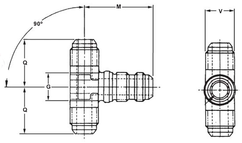 Item # AN834-2D, 1/8 Inch Tube Outer Diameter AN834 Tee On