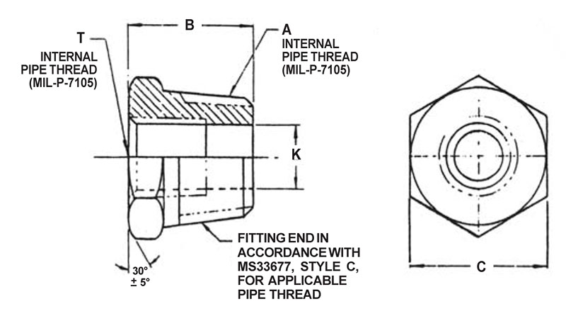 Item # AN912-10, 1 Inch Dimension A AN912 Pipe Bushing