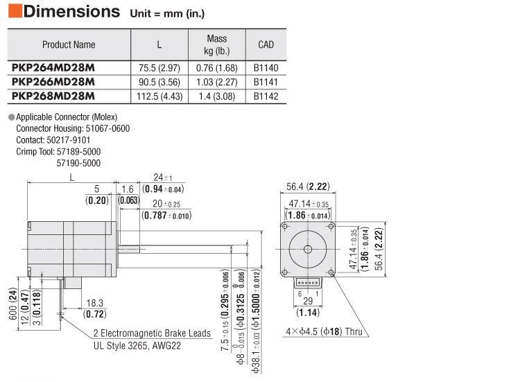 Item # PKP268D28M-L, Stepper Motor On Oriental Motor USA