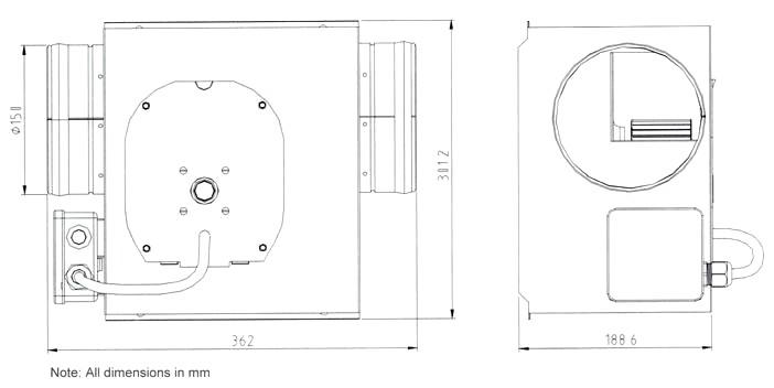 Model Number JD150A-H, 150mm InLine Box Fan On Pelonis