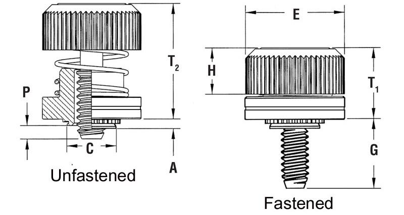 Part # PF50-M4-0CN, Captive Panel Screw-Low Profile Knob