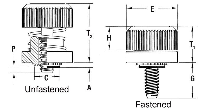Part # PF50-440-0CN, Captive Panel Screw-Low Profile Knob