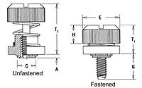 Captive Panel Screw-Low Profile Knob, Spring-loaded PF30