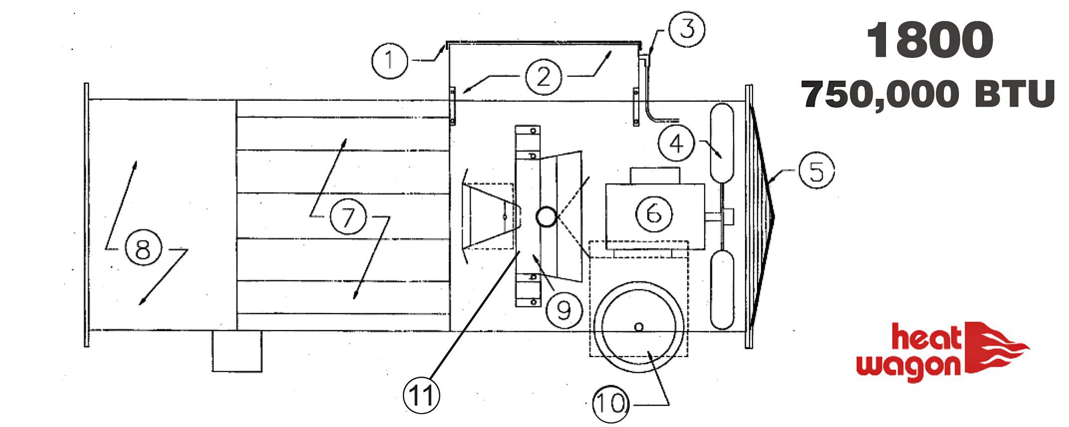 Heat Wagon 1800 General Body, Fan, Burner Parts On Penn